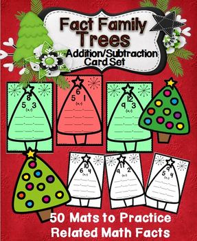 Addition/Subtraction Fact Families Trees Cards Wipe-Off Cards Set