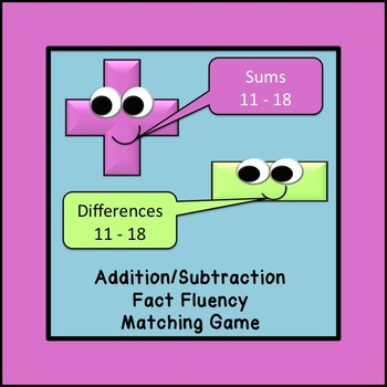 Addition/Subtraction Fact Fluency Matching Game