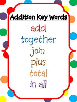 Addition/Subtraction Keywords FREEBIE