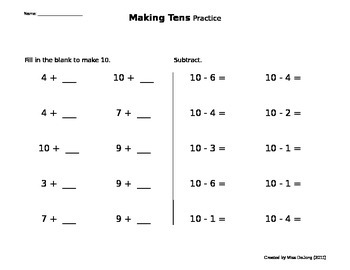 Addition/Subtraction - Making Tens (self-generating worksheet)