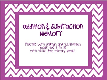 Addition/Subtraction Memory-Practice Math Facts to 20