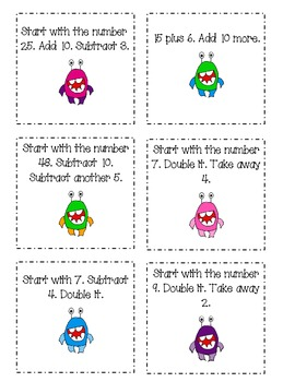 Addition/Subtraction Mental Math Cards