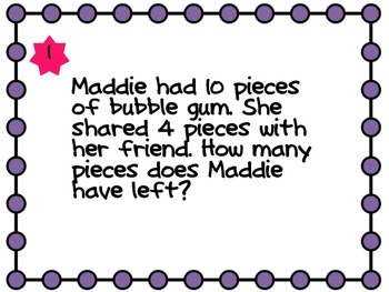 Addition/Subtraction Word Problem Task Cards