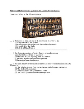 Additional AP Art History Multiple Choice Questions: Ancient Mediterranean