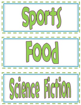 Additional Classroom Library Labels for Older Grades - Green Font