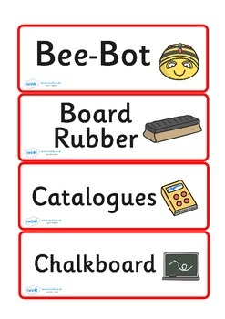 Additional Classroom Resource Labels (Red)