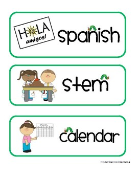 Additional Eric Carle Inspired Schedule Cards