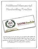 Additional Manuscript Handwriting Practice