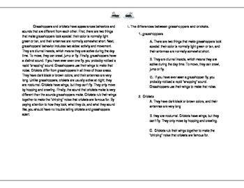 Supplementary Materials for Compare and Contrast Paragraph