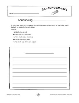 Additional Nonfiction Writing: Announcements
