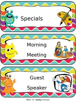 Monster Theme  Classroom Bundle Additional Schedule Cards