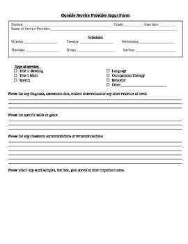 Additional Student Service Provider Input Form - ESE, RTI