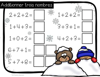 Additionner trois nombres / Adding 3 Number Tiles French Winter Theme