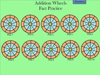 Addition Wheels - Addition Fact Practice - Smartboard