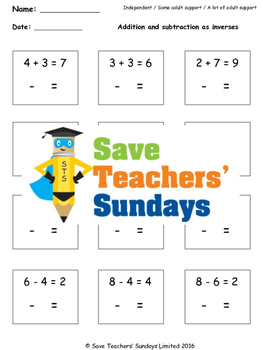Additions and subtraction fact families lesson plans, work