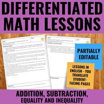 Additions, soustractions, expressions et égalités - French Guided Math Lessons