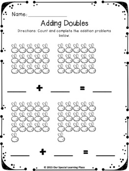 Additition - Adding Doubles { with pictures }
