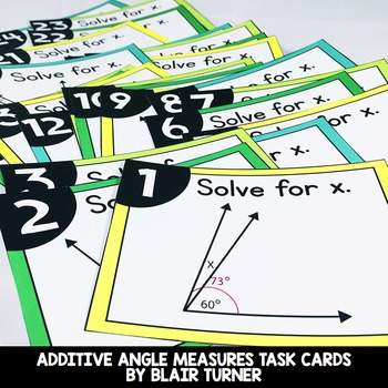 Additive Angle Measures Task Cards: 4th Grade Math Centers 4.MD.7