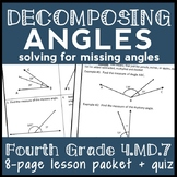Decomposing Angles, 4th Grade Solving for Missing Angles Lesson, 4.MD.7