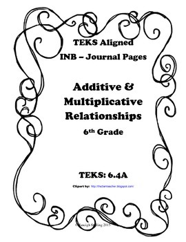 Additive and Multiplicative Relationships INB TEKS 6.4A