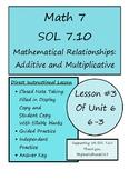 Math 7 Virginia VA SOL 7.10 Additive/Multiplicative Relati