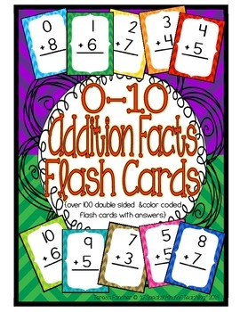 Addition Facts 0-10 Flash Cards {double sided to include a