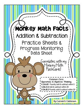 Additon & Subtraction Facts Practice Worksheets - Facts 0-18