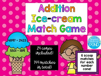 Additon Ice-cream Match Game 4 digit  {24 cones with 6 matches for each}