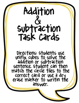 Additon & Subtraction Task Cards