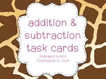 Additon & Subtraction Task Cards-4th Grade