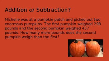 Additon & Subtraction Word Problems FALL THEME