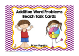 Addition Word Problem Facts Task Cards Beach Theme