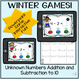 February Additon and Subtraction Unknown Numbers to 10 with Printables