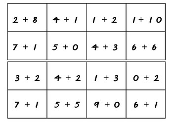 Additon and subtraction bingo cards