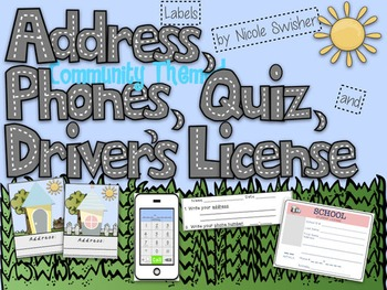 Address Labels/Phones/Quiz/Driver's License- Community Themed!! EDITABLE