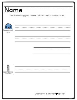 Address and Phone Number Writing Practice