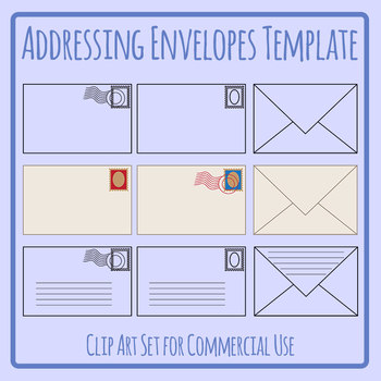 Addressing Envelopes Template for Post, Mail, Letters Clip Art Commercial Use