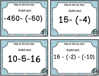 Addtion and Subtraction Integer Task Cards
