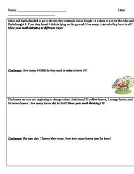 Addtion & Subtraction word problems test