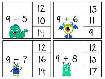 Addition to 20 / Subtraction from 20 Clip Cards