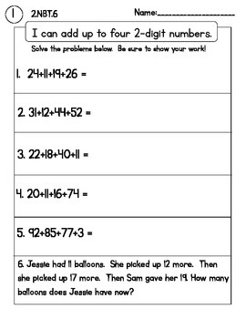 Addtion with up to 4 digits Packet 2.NBT.6 (NO PREP Homework or assessments)