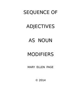 Adejctives as Noun Modifiers