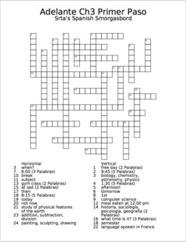 Adelante Unit 3 Crossword Puzzle
