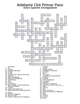 Adelante Unit 4 Crossword Puzzles