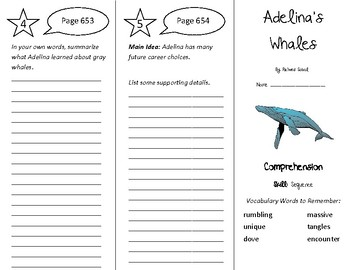 Adelina's Whales Trifold - Treasures 4th Grade Unit 5 Week