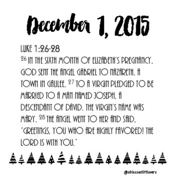 Adevnt Calendar Cards With Scripture 5x5 Cards Christmas Tree Style