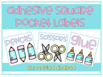 Adhesive Square School Supply Pocket Labels