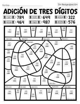 Adición de Tres Dígitos Color por Código in Spanish Espanol