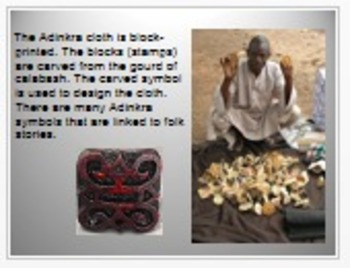 """Adinkra Cloth - The """"Talking Cloth"""" from Ghana, 3rd Grd HM Story 2.3 PPT"""