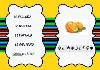 Adivina la comida. Fun Spanish Guessing game about Food